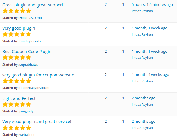 WP Coupons And Deals Plugin Reviews on WP.org