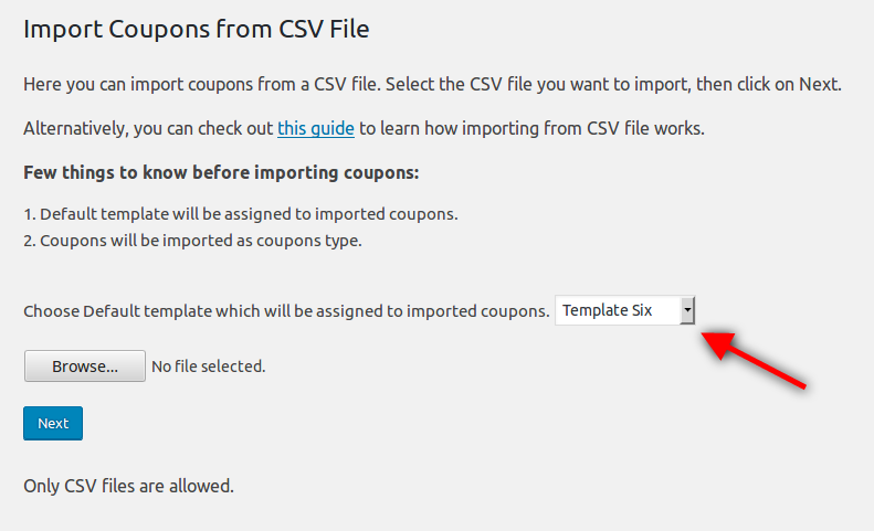 wp coupons and deals 2 4 1 choose template for imported coupons